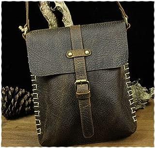 Mens Leather Bag Antique Retro Style Custom Leather Messenger Bag Men Bag Fashion Trend Business Appearance Bag (Color : Black, Size : S)
