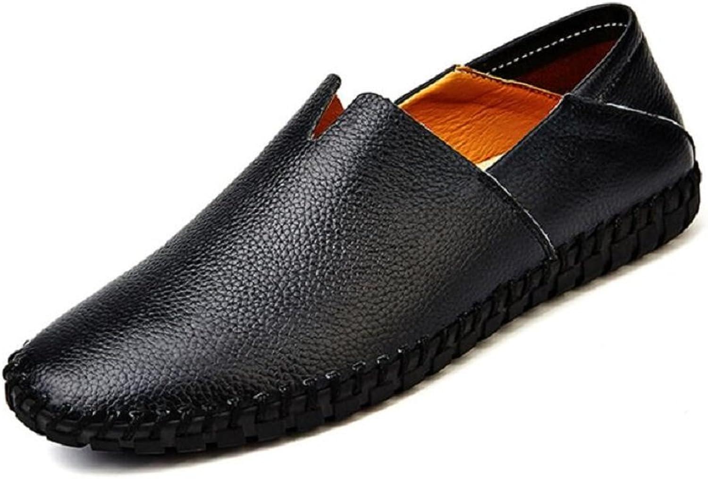 JiYe Men's Genuine Leather Loafer shoes Slip On Soft Walking Driving shoes