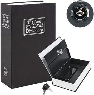 Rubik Book Safe with Key Lock, Home Dictionary Diversion Secret Book Metal Safe Lock Box, 24 x 15.5 x 5.5 cm - Black Medium