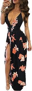 Women's Sexy Spaghetti Strap V-Neck Backless Slit Beach Floral Print Maxi Dress