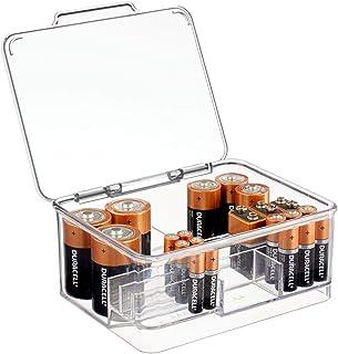 mDesign boite à piles pour différentes tailles de piles – rangement piles empilable avec couvercle en plastique – boite de...