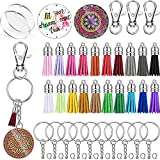 100 Pieces Acrylic Clear Circle Discs Set, Includes 20 Round Acrylic Keychain Blank, 20 Leather Tassel Pendant, 20 Swivel Snap Hook, 20 Metal Keychain Ring and 20 Jump Ring for DIY (2 Inch Diameter)