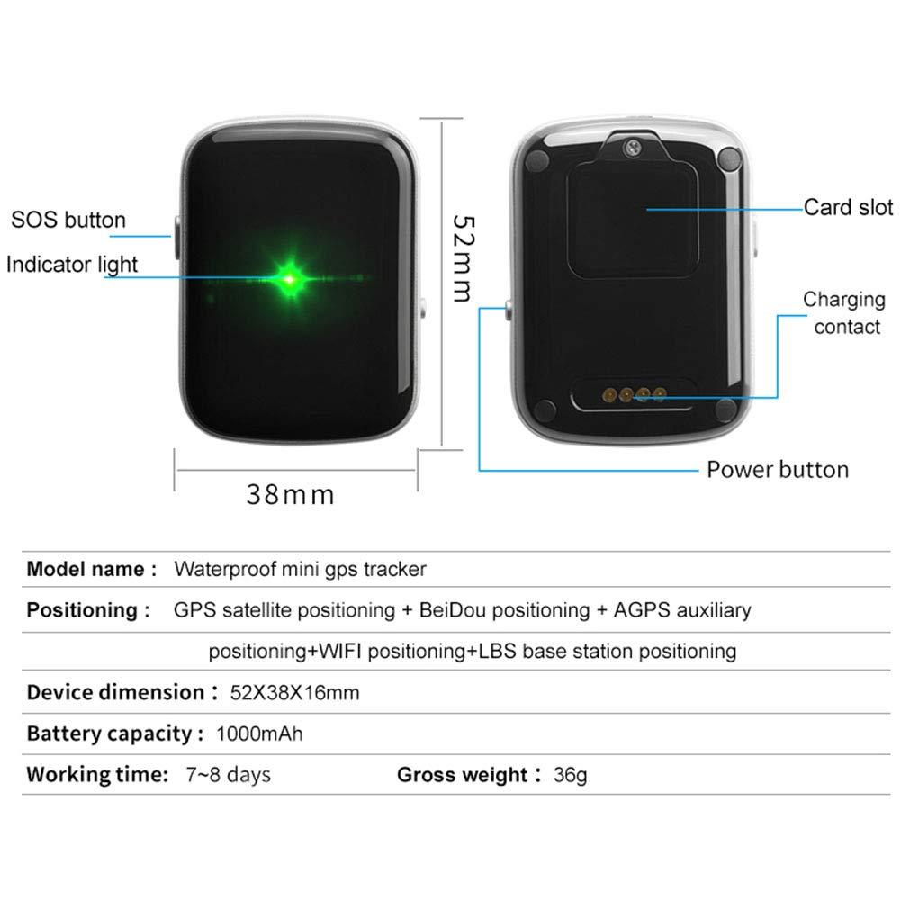 WYXIN Mini rastreador GPS portátil, Dispositivo de Seguimiento a Prueba de Agua a Prueba de Agua para niños, Ancianos, Mascotas, Coche con ayudante SOS, geovalla, Consulta de Ruta histórica: Amazon.es: Deportes y