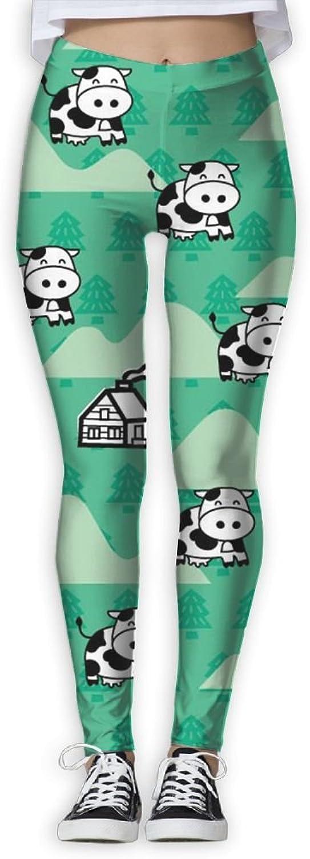 Cartoon Cow Women's Power Flex Sports Yoga Pants Workout Tights Leggings Trouser
