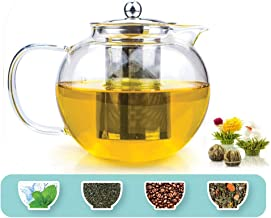 TETWIN 1500ml Glass Teapot with Stainless Steel Infuser for Loose Tea, Stovetop Safe Borosilicate Glass Tea Kettle, Best G...