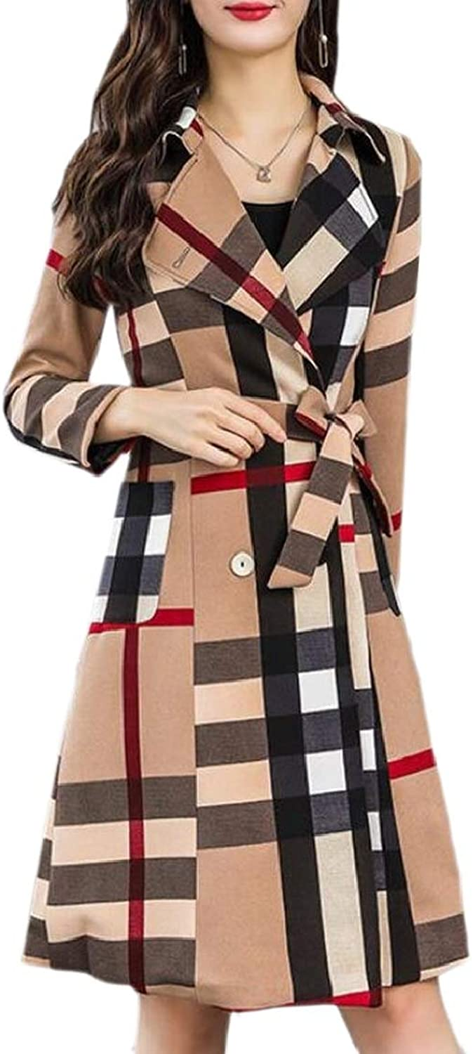 QDCACA Women Belted Plaid Double Breasted Long Trench Coat Jacket Overcoat