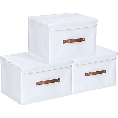 Yawinhe Lot de 3 Boîte de Rangement, Pliable en Tissu de avec Couvercle, pour Serviettes, Livres, Jouets, Vêtements et Ainsi de Suite (Blanc, 38x25x25cm)