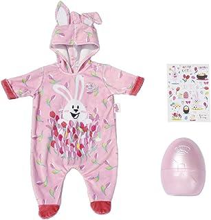 BABY Born Zapf Creation 830307 BABY born Osterei mit Osteranzug - rosa Puppeneinteiler - Ostergeschenk für Puppen-Fans mit Osterei und Stickern