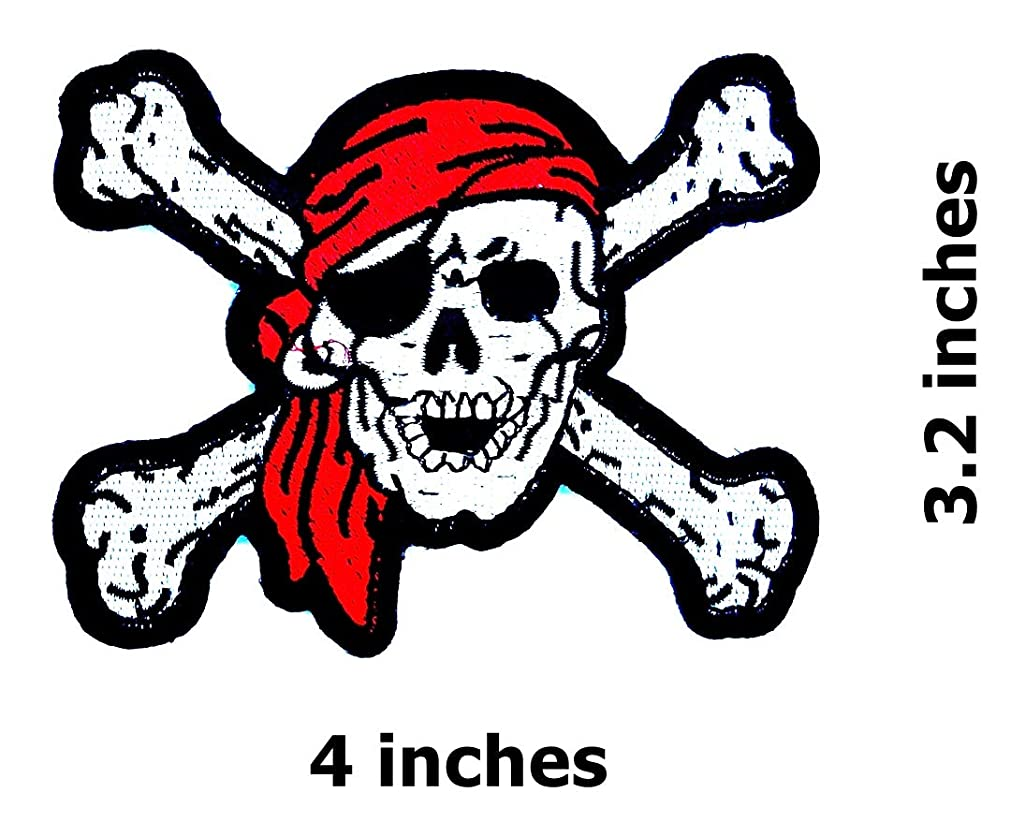 Red Bandana Pirates Skull Cross Bone Caribbean Skull Ghost Lady Rider Biker Hippie Patch Bike Iron On/Sew On Patch