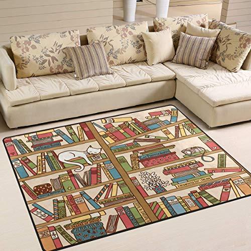 Carpette Boekenkast met kattenmotief, 80 x 58 inch, voor woonkamer slaapkamer 80x58 Inch Image 1520