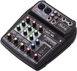 JJmooer AI-4 Tarjeta de sonido compacta Consola de mezclas Mezclador de audio digital Entrada de 4 canales BT MP3 USB + 48V Potencia fantasma para grabación de música Red de DJ Transmisión en vivo