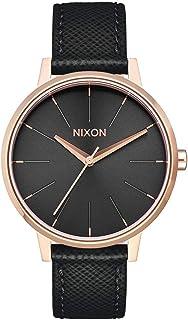 Nixon Kensington Leather Rose Gold/Black Casual Designer Women's Watch (37mm. Rose Gold & Black Face/Black Leather Band)