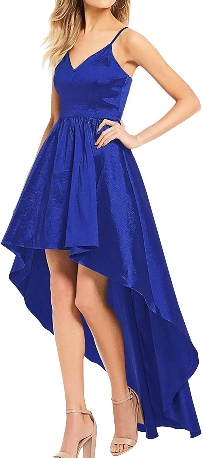 Bess Bridal Women's High Low V Neck Spaghetti Straps Prom Homecoming Dress