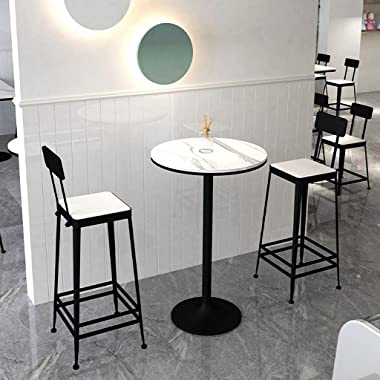HQBL Table de Bar Ronde en marbre de 19,6 Pouces avec Pied et Base en métal, Table de Cocktail de Mariage Debout de 29,5/41 P