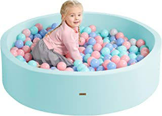 TRENDBOX Soft Foam Ball Pit 51.2 x 11.8 in Large Sponge Round Ball Pool NOT Include Balls Indoor Round Ball Pits Children Toddler Playpen - Light Blue
