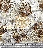 Soimoi Braun Baumwoll-Popeline Stoff Kompass Schiff &