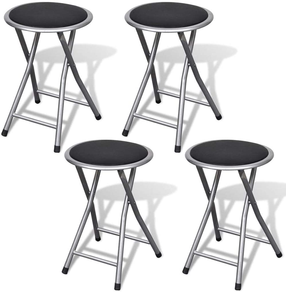 Foldable Stool Set 4Pcs Artificial Seat Round Chair Cheap super special price Soldering Leather Por