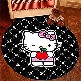 Alfombra Yute Redonda Hello Kitty Negro Tejidas A Mano Es Fácil De Limpiar Las Manchas Decoración Del Hogar De La Antideslizante Natural Dormitorio Lavable Decorativo Suave Superficie R3222 60X60Cm
