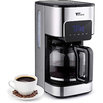 Amzdeal Cafetera de Goteo - Máquina de Café Programable, Pantalla Táctil con Temporizador, Anti-goteo, Aislamiento Térmico, Cafetera de Filtro, Hervidor y Tetero, Tanque de Agua 1.5L: Amazon.es: Hogar