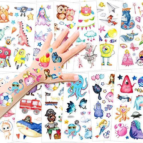 HOWAF Tattoo Kinder, Kindertattoos mit Dinosaurier, Einhorn Tier kindgerechte Designs Tattoos Aufkleben für Kinder Mädchen Jungen Kindergeburtstag Mitgebsel oder Geschenkidee, 14 Blätter
