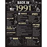 30 Years Ago Birthday or Wedding Anniversary Poster 11 x 14 Party Decorations Supplies Large 30th Party Sign Home Decor for Men and Women (Back in 1991)