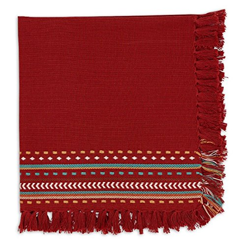 Design Imports Southwest Table Linens, 20-Inch by 20-Inch Napkin, Red Chipotle Hacienda Fringe