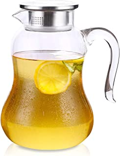 Water Pitcher with lid Sun Tea Jug for hot and cold Water,Coffee & Juice Beverage, 68oz