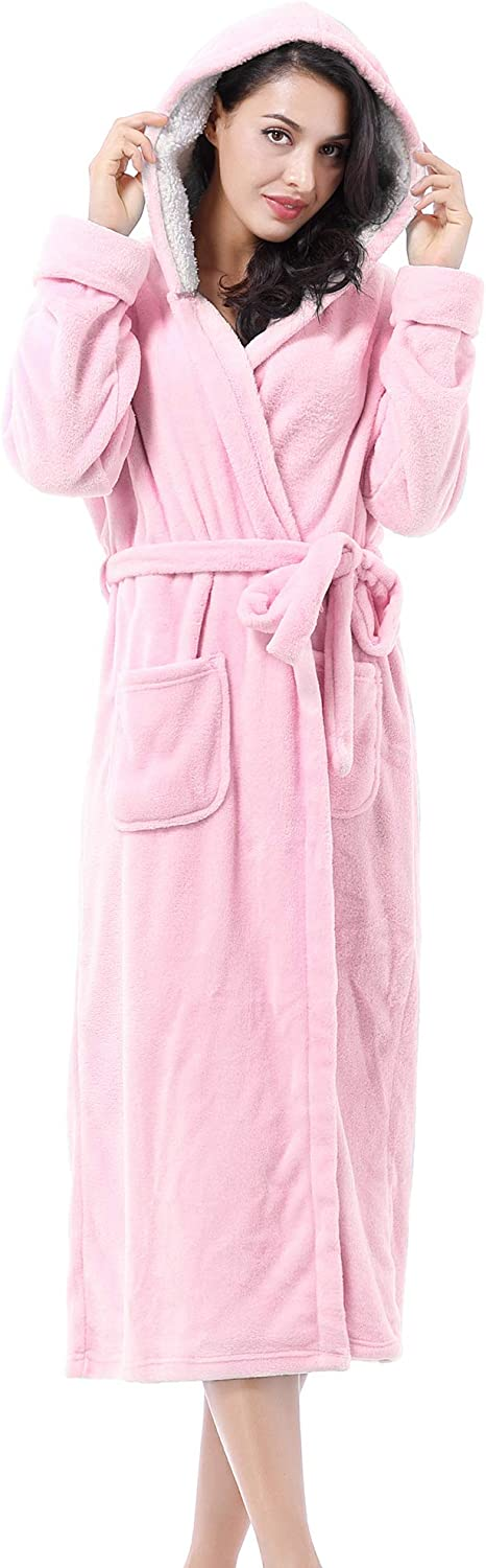 Women's Plush Fleece Long Robe with Free Japan's largest assortment shipping anywhere in the nation Fluffy Soft Hood Comfy Warm