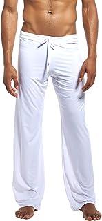 YAOMEI Men's Pyjamas Bottoms, Long Drawstring Lounge Shorts Pants Nightwear Underwear Casual Trousers Elastic Waistband fo...