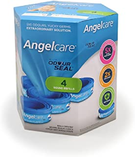 Angelcare Nappy Disposal System Refill Cassette Pack, 4 Count
