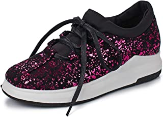 Bonrise Women's Sparkly Lace up Fashion Sneakers Weight Mesh Sparkle Slip On Casual Wedge Platform Shoes