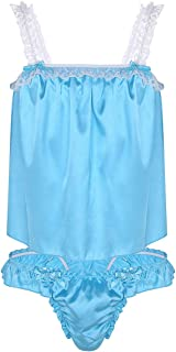 YOOJIA Men's 2 Pieces Sissy Crossdressing Lingerie Set Shiny Satin Ruffled Frilly Top Dress with Girly Briefs Panties