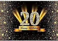 新しい2.1x1.5mVinyl誕生日の背景20歳の誕生日の背景ゴールドブラックキラキラスパンコール背景写真キッズパーティー