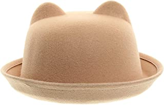 LITTLE TREE-AU Women Cloche Hat Roll Up Brim Bowler Derby Hat (Camel)
