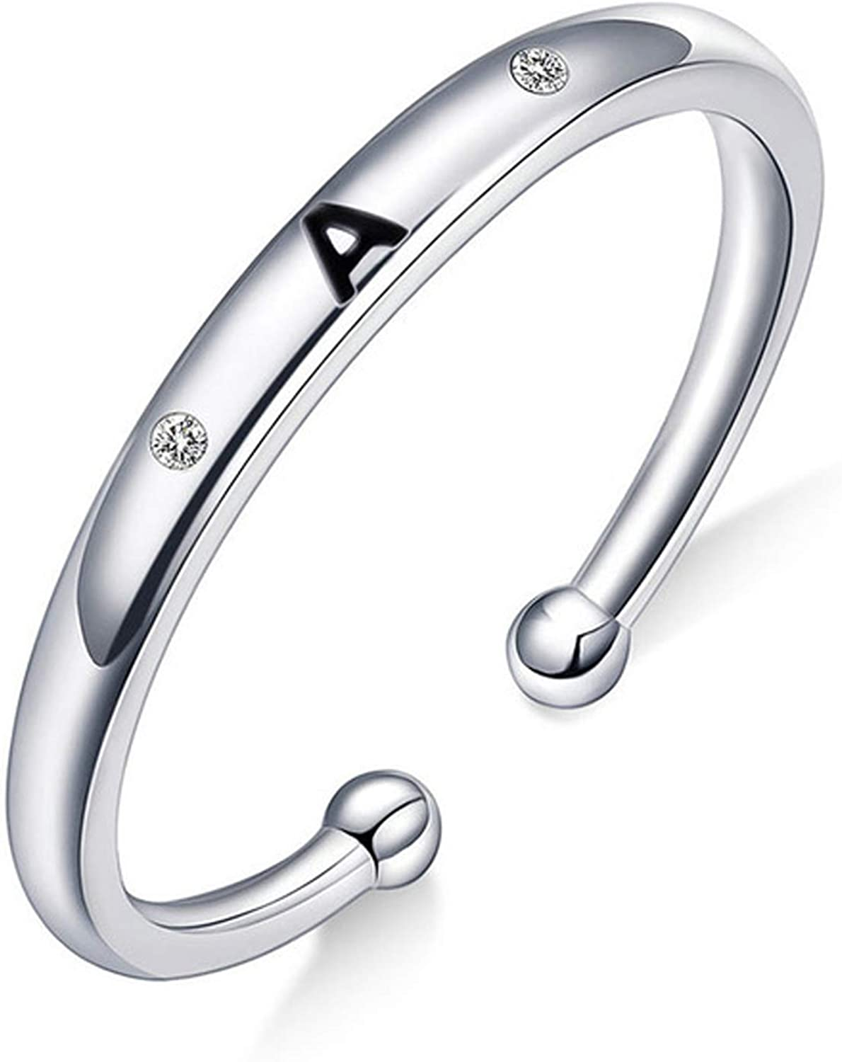 YOUFENG Initial Ring Stackable Rings for Women Personalized Letter Adjustable Open Ring Simulated Diamond Eternity Bands for Women