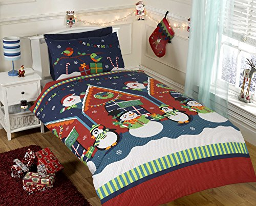 Father Christmas Kids Xmas Snowman Penguin Santa Quilt Duvet Cover and Pillowcase Bedding Bed Set, Multi-Colour, Single
