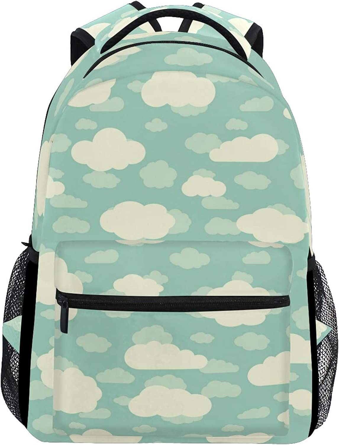 Dark Green Clouds Backdrop Large Backpack Travel Outdoor Sports Laptop Backpack for Women & Men College School Water Resistant