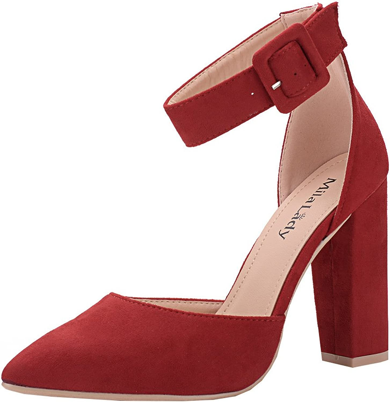 Mila Lady (BERYL-08 D'Orsay Classic Ankle Strap Elegance Platform Lady Heels   RED10
