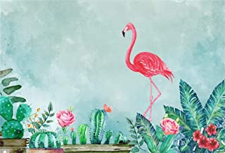 Yeele 5x3ft Flamingo Pink Vinyl Photography Background Watercolor Flowers and Green Plants Drawing with Flamingo Fade Abstract Tropical Plants Cactus Photo Backdrops Pictures Studio Props