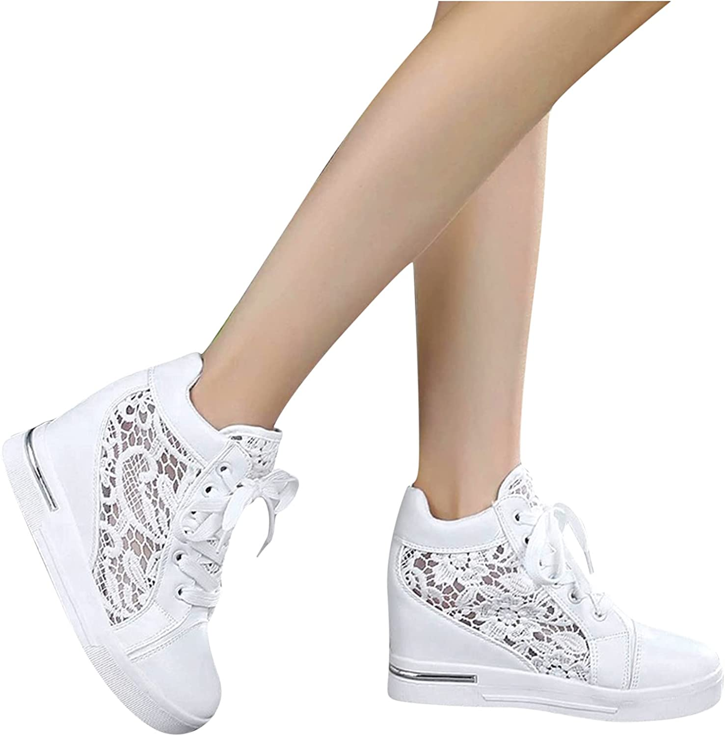 AODONG Sneakers for Women Walking Shoes Platform Ankle Wedges Running Sports Shoes Fashion Round Toe Slip On Shoes