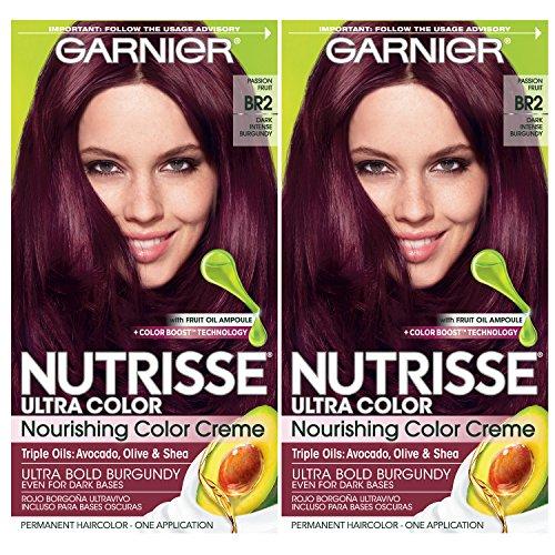 Garnier Nutrisse Ultra Color Nourishing Permanent Hair Color Cream, BR2 Dark Intense Burgundy (Pack of 2) Red Hair Dye