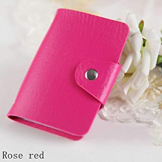 New Protector Wallet Organizer PU Leather Cute Card Holder 24 Slots Rose red