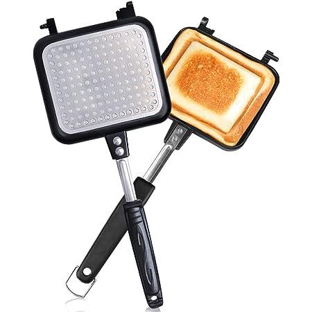 ホットサンドメーカー 直火・ih対応 Vsadey フチが圧着 上下分離型 耳まで焼ける 具だくさん対応 フッ素樹脂加工 お手入れ簡単 丸洗い 焦げ付きにくい 軽量 アウトドア 家庭用 (上下分離型2)