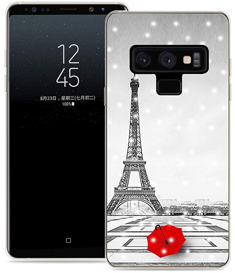 Note 9 Case Eiffel Tower/IWONE Protective Durable TPU Rubber Fashion Designer Cover Skin Compatible for Samsung Note 9 for Galaxy Note9 + Get Lost in Paris Creative Romantic Eiffel Tower Design