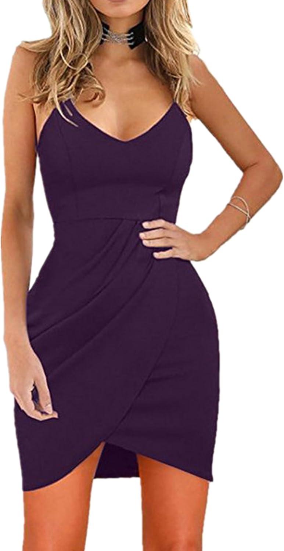 Rozegaga Womens Deep V Neck Spaghetti Straps Bodycon Sleeveless Open Back Party Dress