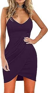 Womens Deep V Neck Spaghetti Straps Sleeveless Open Back Mini Club Bodycon Dress