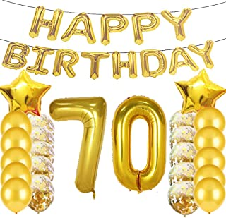 Sweet 70th Birthday Decorations Party Supplies,Gold Number 70 Balloons,70th Foil Mylar Balloons Latex Balloon Decoration,Great 70th Birthday Gifts for Girls,Women,Men,Photo Props
