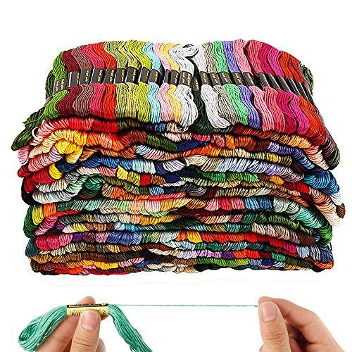 Stickgarn in Regenbogenfarben, Sticktwist für Kinder und Erwachsene geeignet, 447 Farben