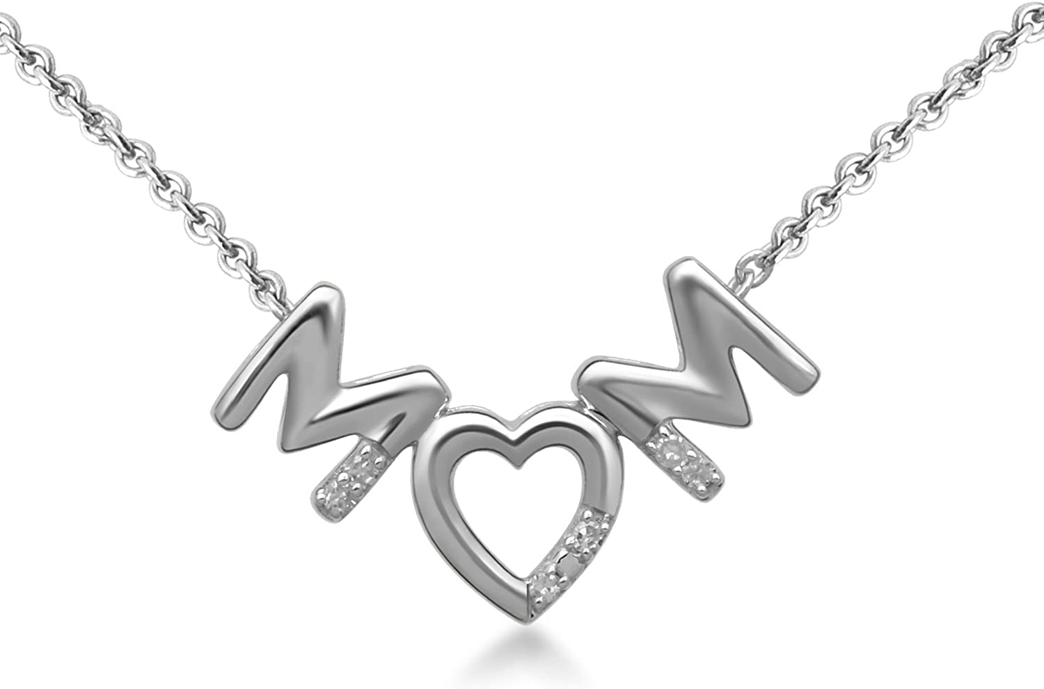 Jewelili Sterling Silver Natural Round Heart Diamond Love Selling and selling 70% OFF Outlet Accent