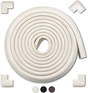 AMERTEER Edge & Corner Guards Baby Proofing Foam - Safety Furniture Bumper Table Protectors - Corner Cushion Set 16.4 ft(13.1 ft Edge + 4 Corners) - MEETBABY(white)